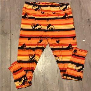 Lularoe tc2 orange Halloween black cat leggings